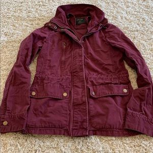Maroon button up jacket